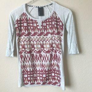 Dolan T Lami Embroidered Aztec Tee Shirt Blouse XS